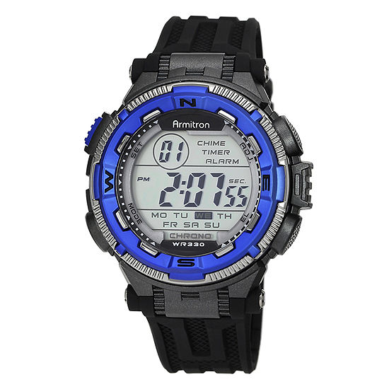 Armitron Pro Sport Mens Chronograph Multi-Function Digital Black Strap Watch-40/8301bluj