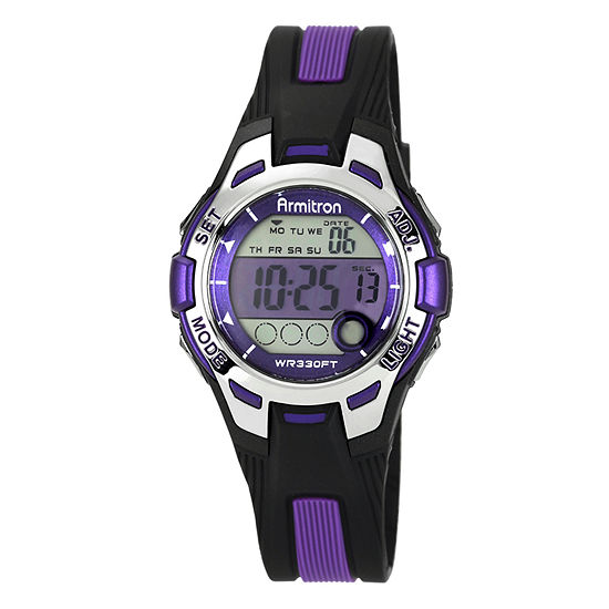 Armitron Pro Sport Womens Chronograph Multi-Function Digital Purple Strap Watch-45/7030purj