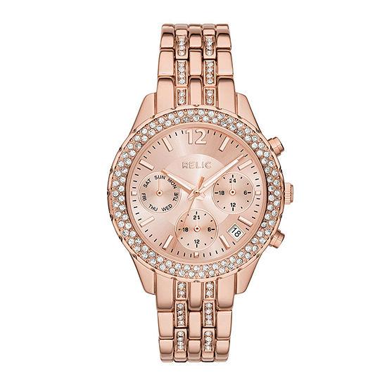 Relic By Fossil Merrit Womens Multi-Function Rose Goldtone Bracelet Watch - Zr15787