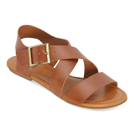1940s Style Shoes, 40s Shoes a.n.a Womens Malta Strap Sandals 7 Medium Brown $19.99 AT vintagedancer.com