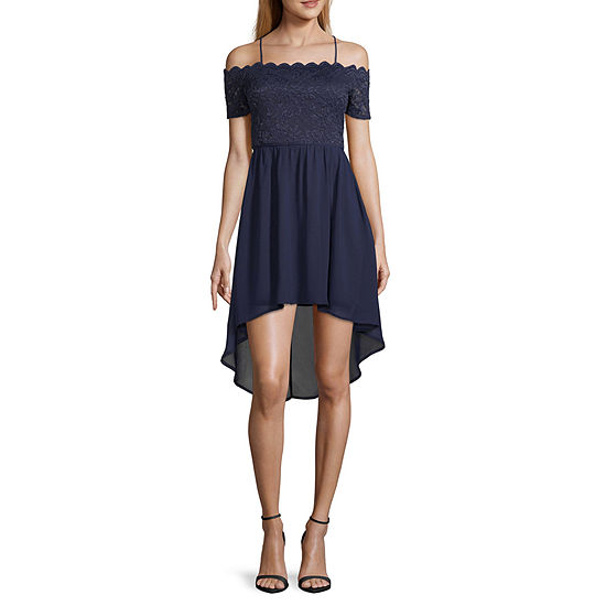 City Triangle-Juniors Social Short Sleeve High-Low Dress Set