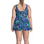 Azul by Maxine of Hollywood Leaf Swim Dress Plus