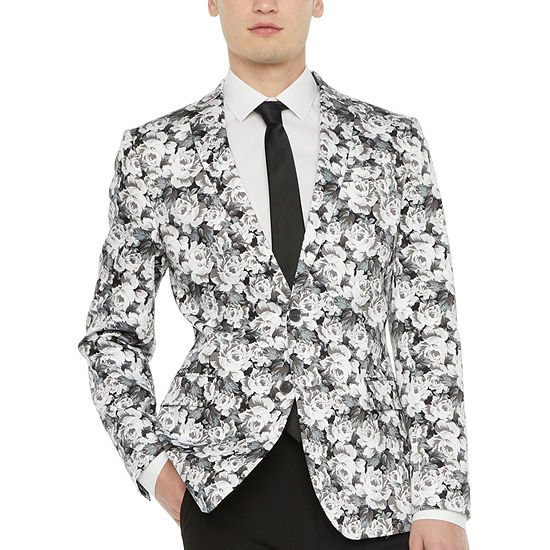 JF J.Ferrar Mens Gray Rose Slim Fit Sport Coat