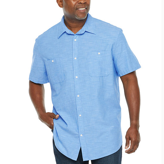 The Foundry Big & Tall Supply Co. Mens Short Sleeve Button Front Shirt
