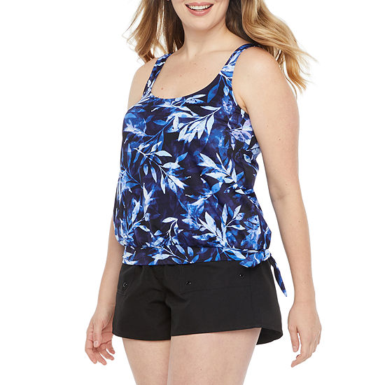 Azul by Maxine of Hollywood Floral Blouson Swimsuit Top or Swimsuit Bottom