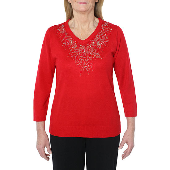 Cathy Daniels Happy Holidays Womens V Neck Long Sleeve Pullover Sweater