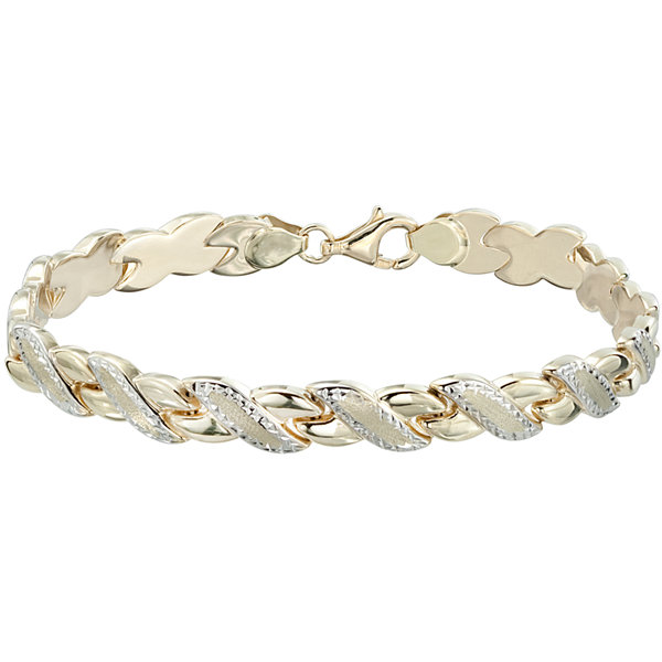 "Two-Tone 10K Gold 8"" Diamond-Cut Stampato Link Bracelet"