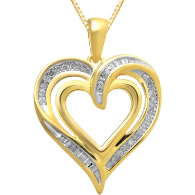 1/4 CT. T.W. Diamond Heart Pendant Necklace 14K Gold Over Sterling Silver