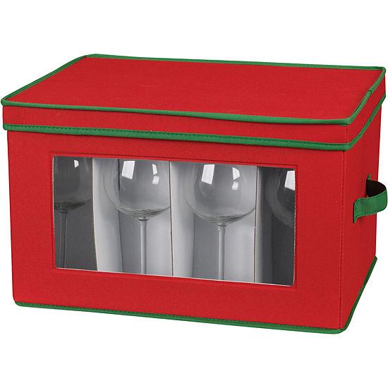 Household Essentials Red Holiday Balloon Stemware Storage Chest