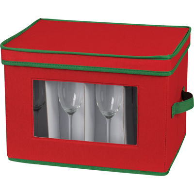 Household Essentials® Red Holiday Flute Stemware Storage Chest