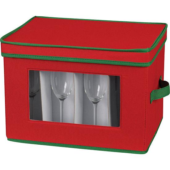Household Essentials® Red Holiday Flute Stemware Storage Chest