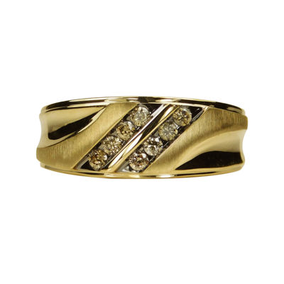 Mens 1/3 CT. T.W. Genuine Champagne Diamond 10K Yellow Gold Ring