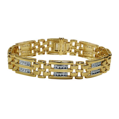 Mens 1 Ct T W Diamond 10k Yellow Gold Bracelet Jcpenney
