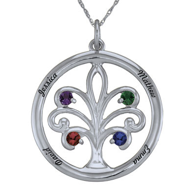 Personalized Sterling Silver Family Tree Birthstone Pendant Necklace