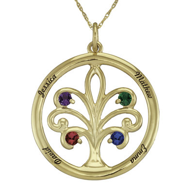 Personalized 14K Yellow Gold Family Tree Birthstone Pendant Necklace