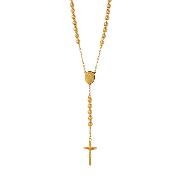 Mens Gold-Tone Stainless Steel Rosary Necklace