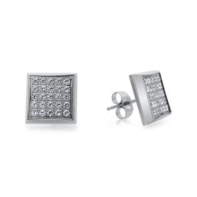 Mens 1/4 CT. T.W. Diamond Stainless Steel Square Stud Earrings