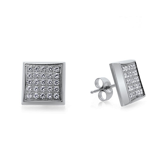 Mens 1 4 Ct T W Diamond Stainless Steel Square Stud Earrings
