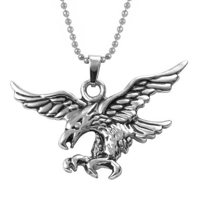 Mens Stainless Steel Eagle Pendant Necklace
