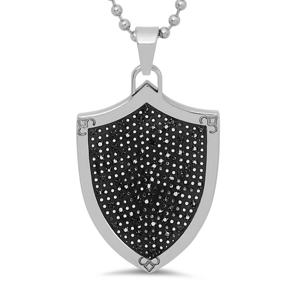 Mens 1/2 CT. T.W. Color-Enhanced Black Diamond Stainless Steel Shield Pendant Necklace
