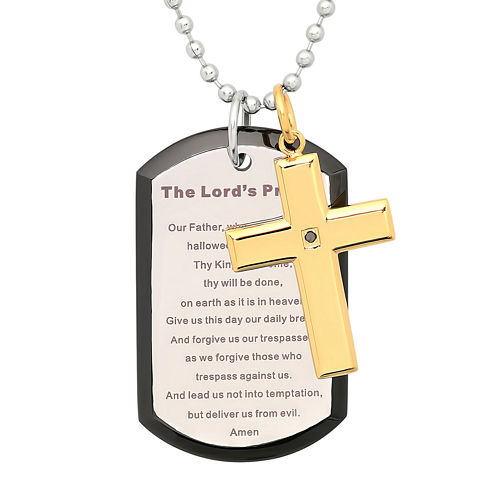 Mens Two-Tone Stainless Steel Diamond-Accent Lord's Prayer Cross Pendant Necklace