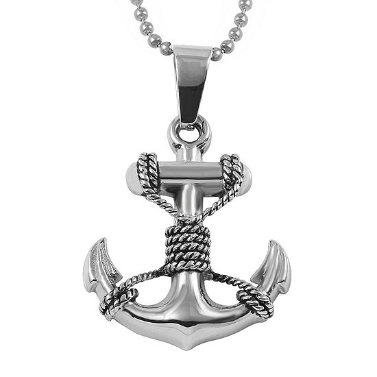 Mens Stainless Steel Anchor Pendant Necklace
