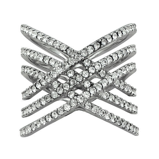 Sterling Silver Crystal Crossover Ring