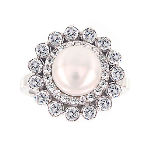 DiamonArt® Cultured Freshwater Pearl and Cubic Zirconia Sterling Silver Flower Ring