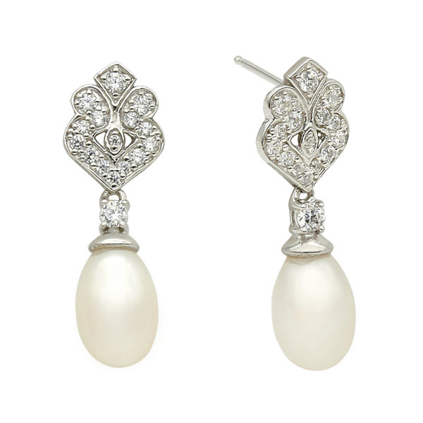DiamonArt® Cubic Zirconia and Cultured Freshwater Pearl Sterling Silver Drop Earrings