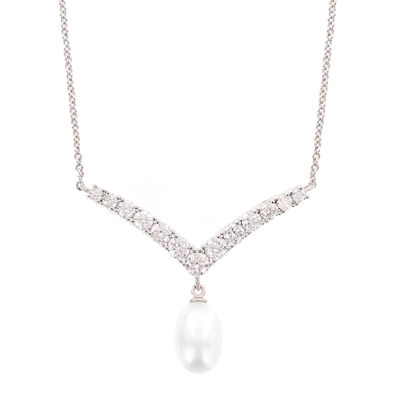 DiamonArt® Cubic Zirconia and Cultured Freshwater Pearl Sterling Silver Necklace