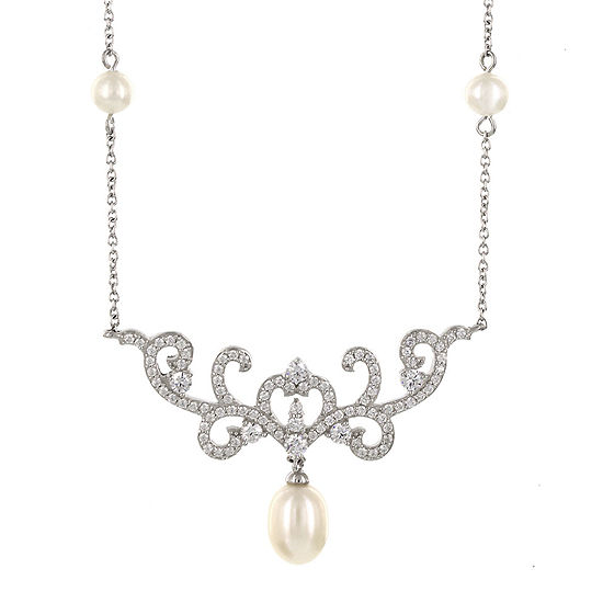 DiamonArt® Cultured Freshwater Pearl & Cubic Zirconia Sterling Silver Necklace