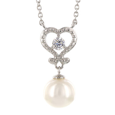 DiamonArt® Cultured Freshwater Pearl and Cubic Zirconia Sterling Silver Necklace