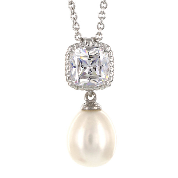 Fine Jewelry DiamonArt Cultured Freshwater Pearl and Cubic Zirconia Sterling Silver Pendant Necklace INHh1gU
