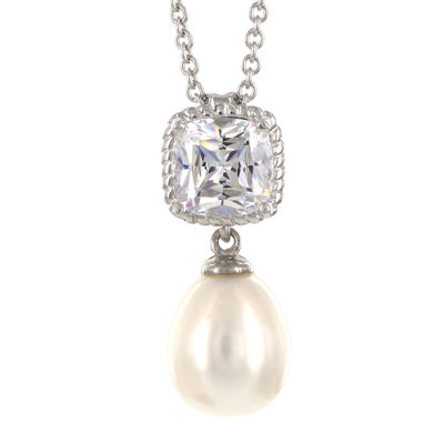 DiamonArt® Cultured Freshwater Pearl and Cubic Zirconia Sterling Silver Pendant Necklace