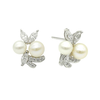 DiamonArt® Cultured Freshwater Pearl & Cubic Zirconia Sterling Silver Earrings