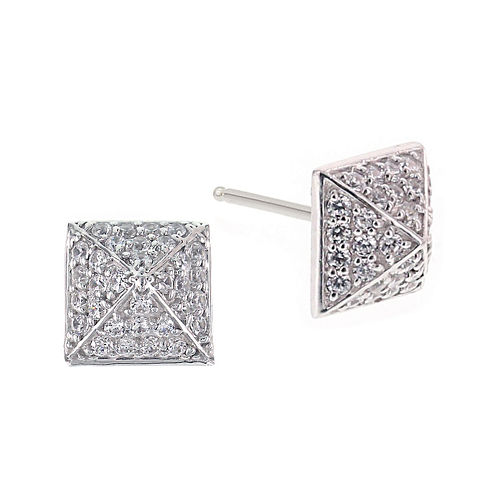 DiamonArt® 1.02 CT. T.W. Cubic Zirconia Sterling Silver Pyramid Cluster Earrings