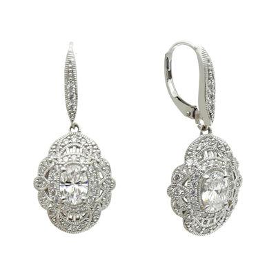DiamonArt® 4.26 CT. T.W. Cubic Zirconia Sterling Silver Oval Drop Earrings
