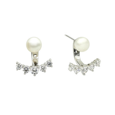 DiamonArt® Cultured Freshwater Pearl and Cubic Zirconia Sterling Silver Jacket Earrings