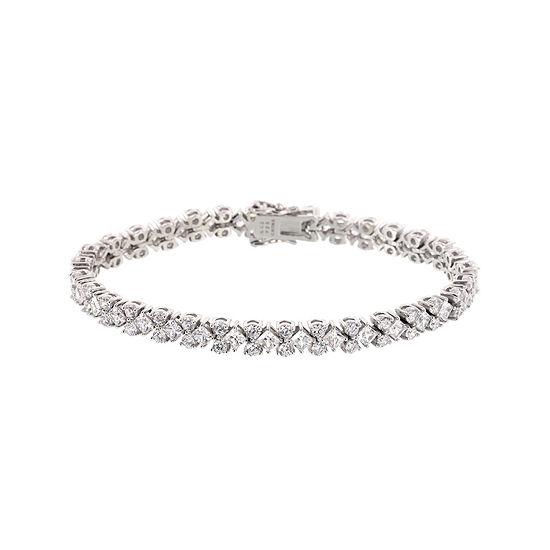 T W Cubic Zirconia Sterling Silver Tennis Bracelet