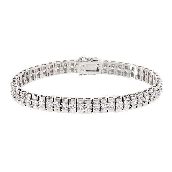 T W Cubic Zirconia Sterling Silver Double Tennis Bracelet