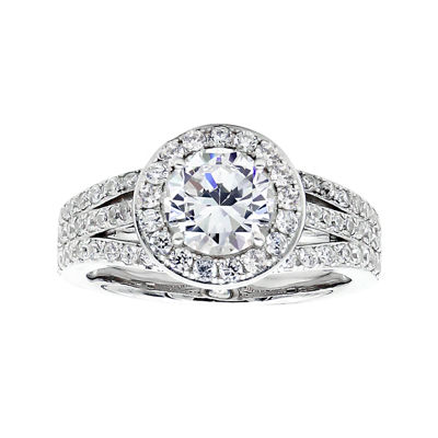 DiamonArt® Cubic Zirconia Sterling Silver Halo Ring