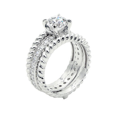 DiamonArt® Cubic Zirconia Sterling Silver Rope Ring
