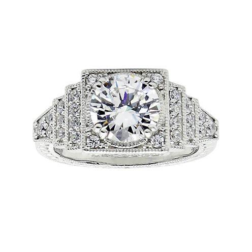 DiamonArt® Cubic Zirconia Sterling Silver Halo Miligrain Ring