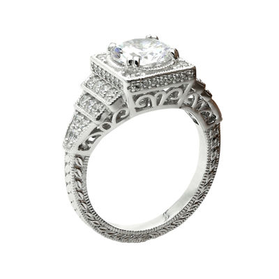 DiamonArt® Cubic Zirconia Sterling Silver Halo Miligrain Ring