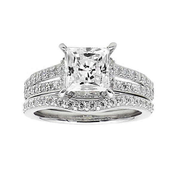 DiamonArt® Cubic Zirconia Sterling Silver Bridal Set