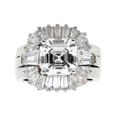DiamonArt® Cubic Zirconia Sterling Silver Starburst Bridal Ring Set