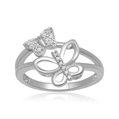 1/10 CT. T.W. Diamond Sterling Silver Double Butterfly Ring