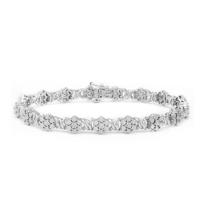 diamond blossom 1/5 CT. T.W. Diamond Sterling Silver Bracelet