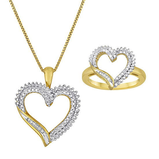 1/10 CT. T.W. Diamond 14K Yellow Gold Over Sterling Silver Necklace and Ring Boxed Set