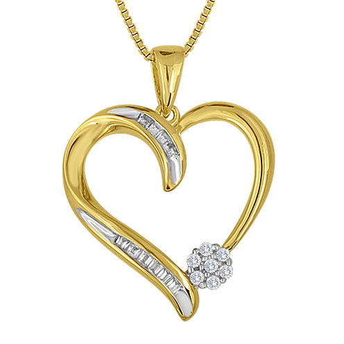 diamond blossom 1/10 CT. T.W. Diamond 14K Yellow Gold Over Sterling Silver Necklace
